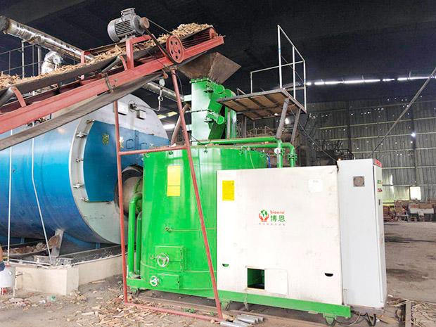 480萬大卡-木片燃燒機-配套燃氣鍋爐用于海鮮加工廠-汕尾