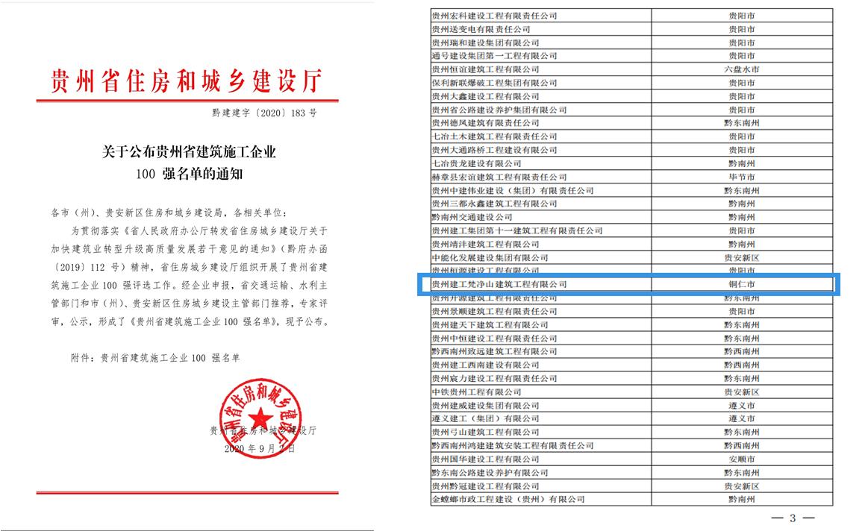公司入選2020年貴州省建筑施工企業100強
