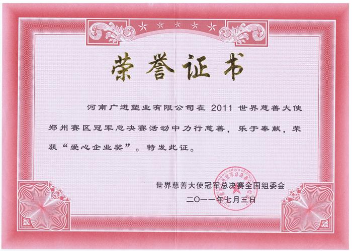 慈善大使荣誉证书